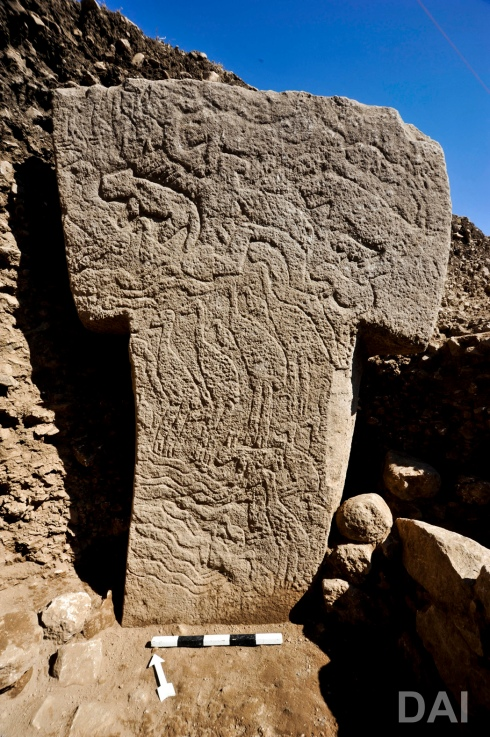 Pillar 56 from Göbekli Tepe's Enclosure H. (Photo: German Archaeological Institute, Nico Becker)